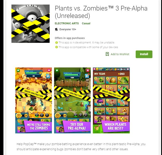 Plants Vs Zombie 3 Sudah Tersedia Di Play Store Versi Pre-Alpha